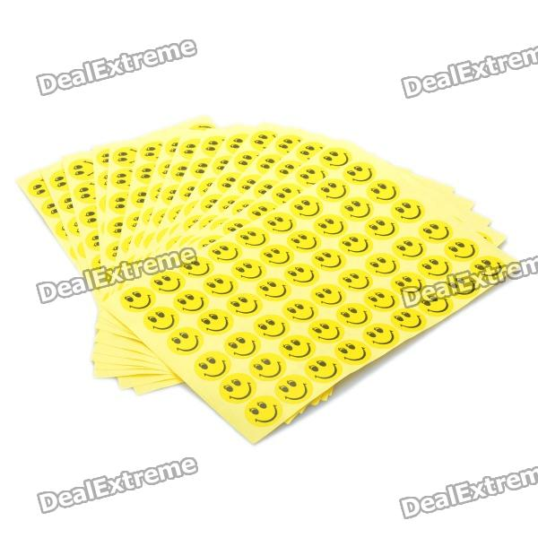 16mm Round Smiling Expression Pattern Self Adhesive Label Stickers - Orange (54 x 15 Pack)