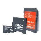 Genuine SanDisk TF / Micro SD Memory Card w/ SD / Mini SD Adapter - 2GB