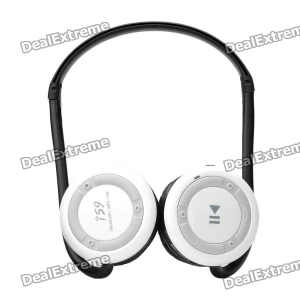 Deportes plegables portátiles Bluetooth Stereo Headphone w / MP3/FM/TF/MIC - Blanco