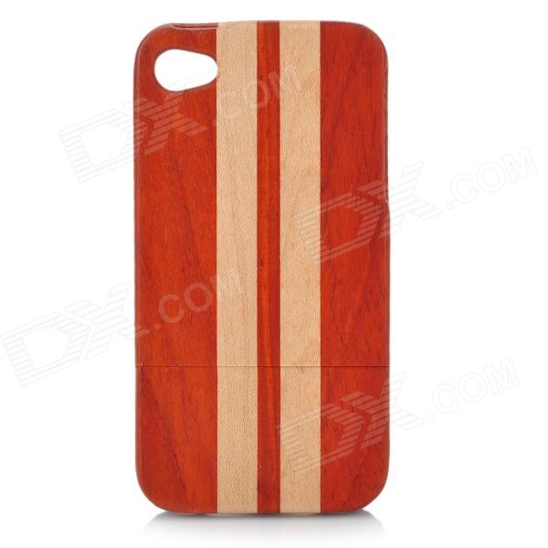 Stripe Pattern Protective Bamboo Back Case for Iphone 4 / 4S - Brown