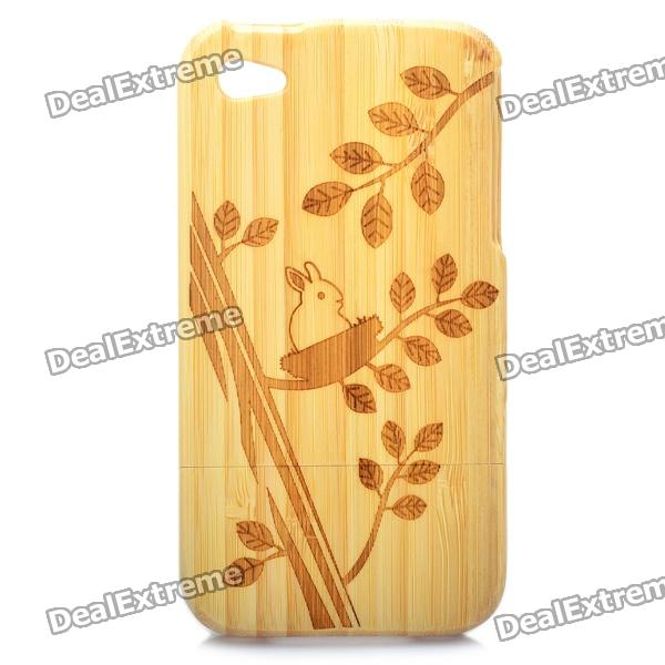 Rabbit and Tree Pattern Protective Bamboo Back Case for Iphone 4 / 4S