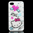 Hello Kitty Pattern Protective PC Back Case for iPhone 4 / 4S - White