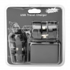 Universal 4-USB Travel AC Power Adapter Charger - Black