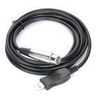 USB Male to XLR Female Microphone Cable - Black (280cm)
