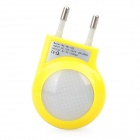 AC Power Adapter with 2-LED White Light & USB Port - Yellow (AC 100~240V / 2-Round-Pin Plug)