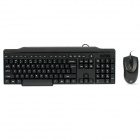 KB-2201 106-Key Wired Keyboard 1800DPI Mouse Set - Black