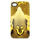 3D Snake Image Style Protective Genuine Leather Case for Iphone 4 / 4S - Black + Yellow