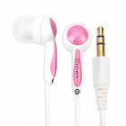 Q-293A Noise Isolation In-Ear Stereo Earphone - Pink + White (3.5mm Jack / 140cm Cable)