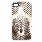3D Snake Image Style Protective Genuine Leather Case for iPhone 4 / 4S - Black + White