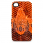 3D Snake Image Style Protective Genuine Leather Case for iPhone 4 / 4S - Black + Orange
