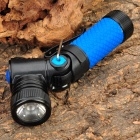 NEW-898A CREE XR-E Q5 3-Mode 310LM White LED Flashlight w/ Rotation Head - Blue (1 x 14500/AA)