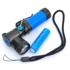 NEW-898A 3-Mode 310LM White LED Flashlight w/ Rotation Head - Blue (1 x 14500/AA)