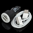 Car Cigarette Powered Charger Adapter w/ Dual USB + USB Data/Charging Cable for The New iPad - Black
