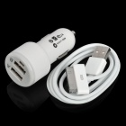 Car Cigarette Powered Charger Adapter w/ Dual USB + USB Data/Charging Cable for The New iPad - White