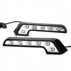 0.6W 6000~6700K 120LM 6-LED White Light Car Daytime Running Light Lamps (DC 12V or 24V / Pair)