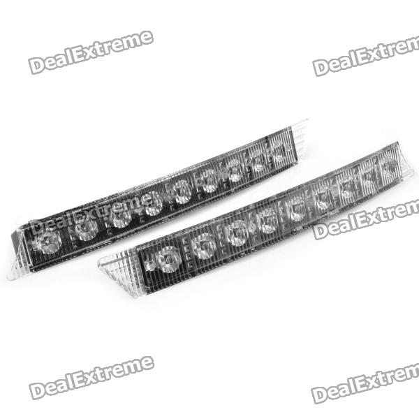 0.1Wx9 180LM 6000-6700K White 9-LED Car Daytime Running Light - Black (DC 12V / Pair)