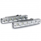 1Wx5 70-90LM 6000-6700K White 5-LED Car Daytime Running Light - Black (DC 12V / Pair)