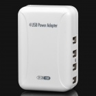 4-Port USB Power Adapter/Charger with US / EU / AUS / UK Plug Adapters - White (100~240V)