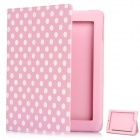 Protective Polka Dot Pattern PU Leather Case for The New Ipad - Pink + White