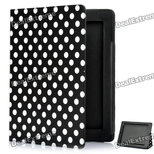 Protective Polka Dot Pattern PU Leather Case for The New Ipad - Black + White polka dot pattern protective swivel rotating pu leather case for ipad mini purple white