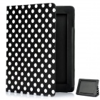 Protective Polka Dot Pattern PU Leather Case for The New iPad - Black + White