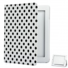 Protective Polka Dot Pattern PU Leather Case for The New Ipad - White + Black