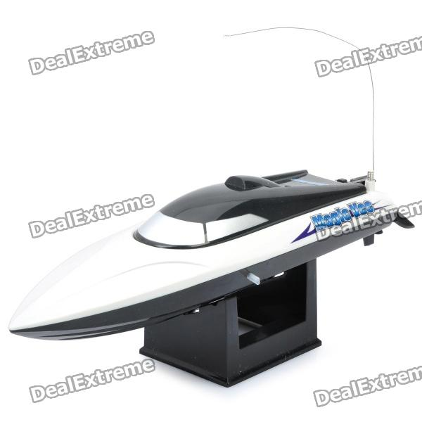 Rechargeable 2-Ch R/C Boat Model with Remote Controller - Black + White