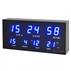 AC Powered Blue LED Digital Clock with Calendar / Alarm Clock / Thermometer