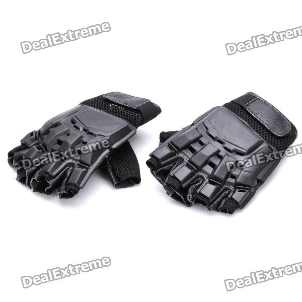 Cool Protective PVC Shell Half-Finger Fiber Gloves for War Game - Black (Size-M) tanluren sw2013 protective anti fog face shield mask w turbifan for outdoor war game black