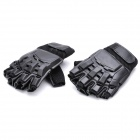 Cool Protective PVC Shell Half-Finger Fiber Gloves for War Game - Black (Size-XL)