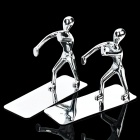 Zinc Alloy Men Pushing Bookends - Silver (Pair)