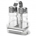 Stylish Mini Seasoning Box Set - Silver + Transparent (50ml / 2-Piece Pack)