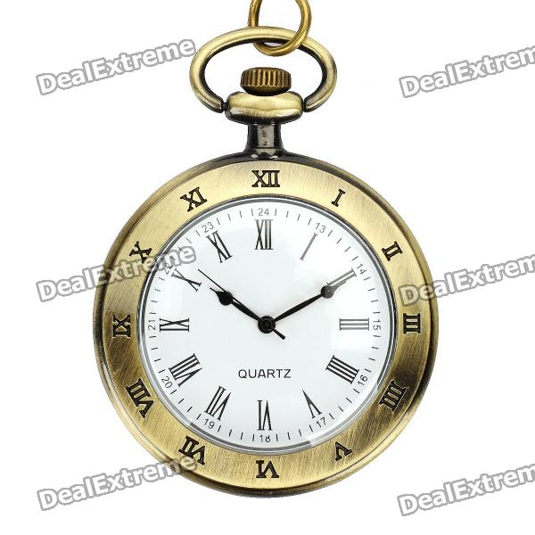 Vintage Zinc Alloy Quartz Pocket Watch Necklace - Bronze (1 x 377s) 4 design bronze vintage quartz pocket watch free mason sword art online gear necklace pendant chain womens mens gifts p1123