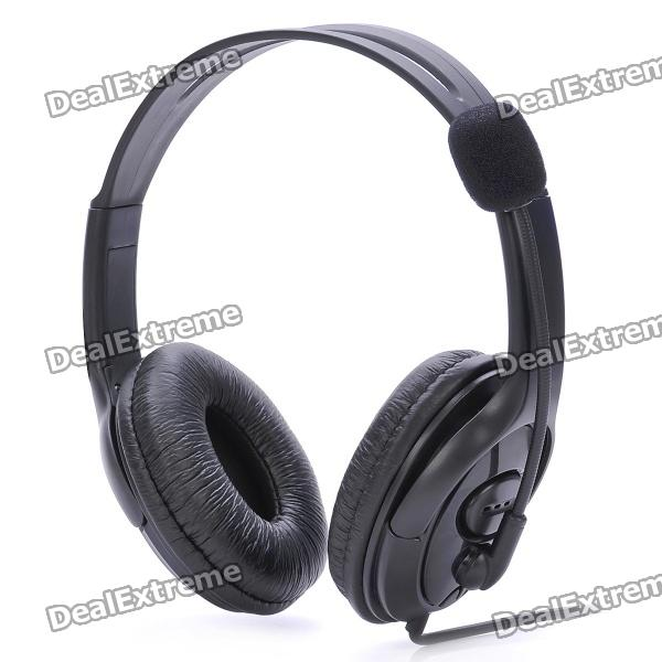 USB Connector Headset Headphone w/ Microphone / Volume Control - Black (180cm-Cable) stylish headset w microphone volume control for dell mini 5 streak 3 5mm jack 120cm cable