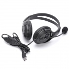 USB Connector Headset Headphone w/ Microphone / Volume Control - Black (180cm-Cable)