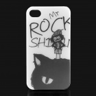 ROCK Mr. Rock Pattern Cool Protective PC Case for Iphone 4 / 4S - White + Black