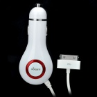 Compact 2-in-1 FM Transmitter Car Charger for iPhone / iPod - White + Red (DC 12~24V)