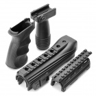 Tactical Rail Handguard + Front Grip + Rear Grip Set for AK47 - Black (Set of 4)