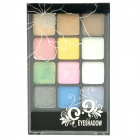 Charming Cosmetic Makeup 12-Color Eye Shadow Kit - Black