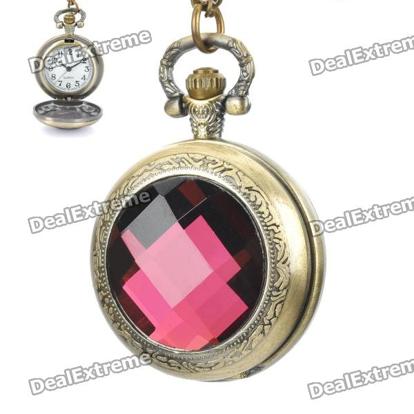 Crystal Zinc Alloy Stylish Quartz Pocket Watch Necklace - Random Color (1 x 377s) old antique bronze doctor who theme quartz pendant pocket watch with chain necklace free shipping