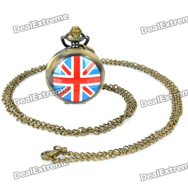 UK National Flag Style Zinc Alloy Quartz Pocket Watch with Chains - Bronze (1 x 377S / 40cm) vintage metal pocket quartz watch with chains penguins 1 377