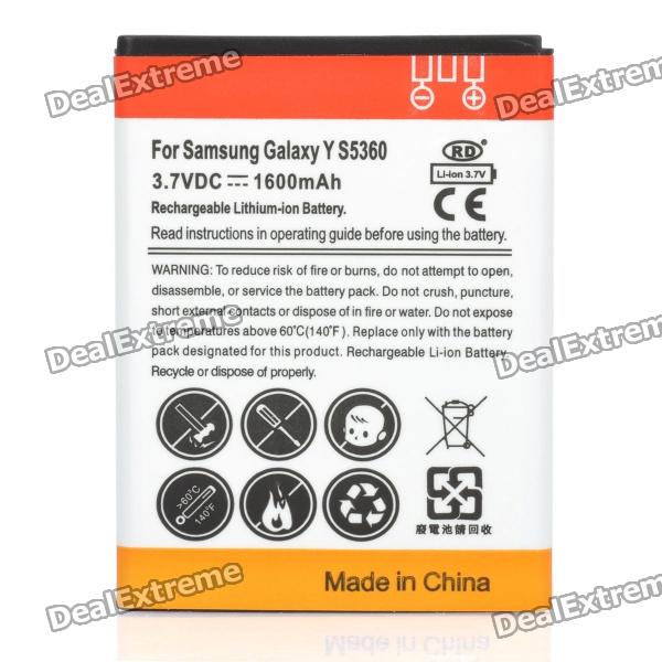 Replacement 3.7V 1600mAh Battery for Samsung Galaxy Y S5360