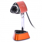 Gucee HD30 300K Pixels USB Digital High Definition Webcam w/ Microphone - Orange + Black (120cm)