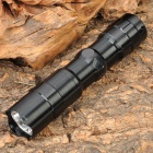 Mini White Light LED Energy Saving Flashlight w/ Strap - Black (1 x AA)