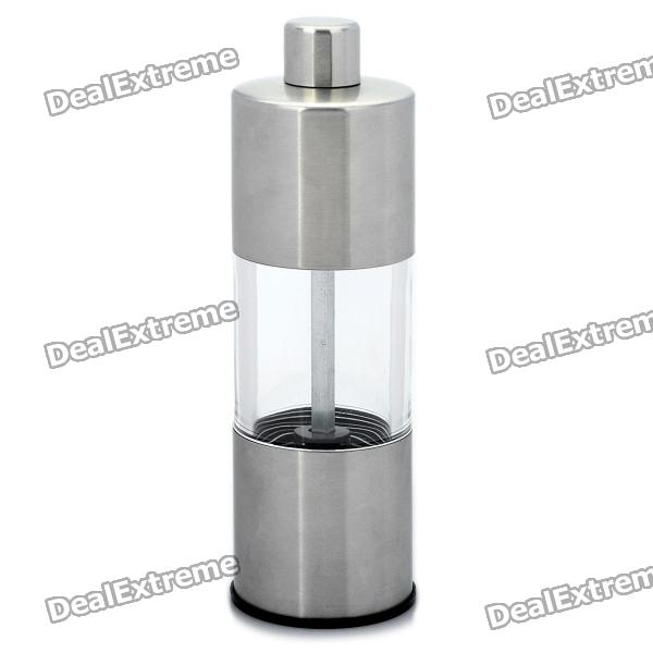Stylish Cylinder Shaped Stainless Steel Pepper Mill Grinder - Silver silver color stainless steel adjustable kitchen bathroom office furniture cabinet shelves legs feets pack of 4 50x180mm