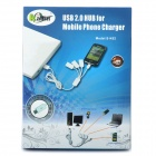 USB Male to 3-Port USB 2.0 Female + 1 Micro USB Male Charging Hub - White
