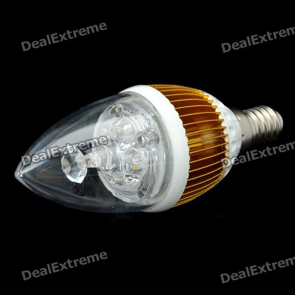 купить E14 4.2W 400-Lumen 3000~3500K Warm White Light 4-LED Lamp Bulb - Golden + White (85~265V) онлайн