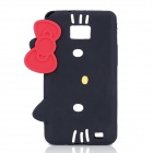 Hello Kitty Style Protective Silicone Case for Samsung i9100 - Black + Red