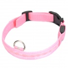 Adjustable 3-Mode Yellow LED Strip Nylon Pet Collar - Pink (2 x CR2032 / Size-L)