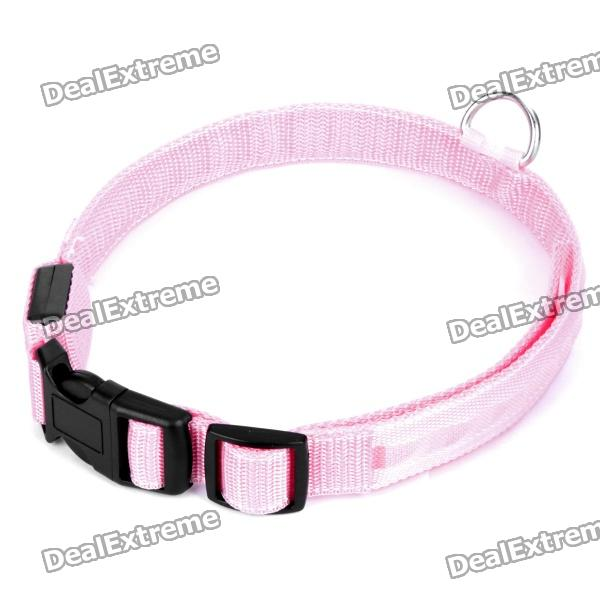 Adjustable 3-Mode LED Red Light Flashing Dog Collar/Belt - Pink + Black (XL)